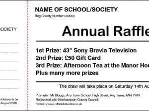 General fundraising raffle ticket design
