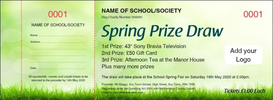 Spring Raffle Ticket with grass and green background