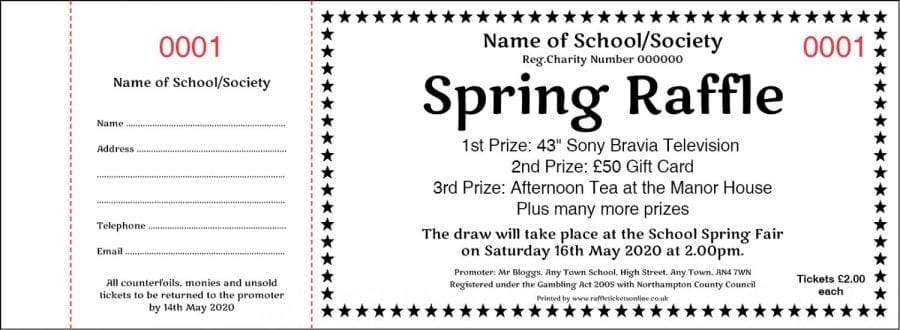 Spring Prize Draw Raffle Ticket Template with star border.