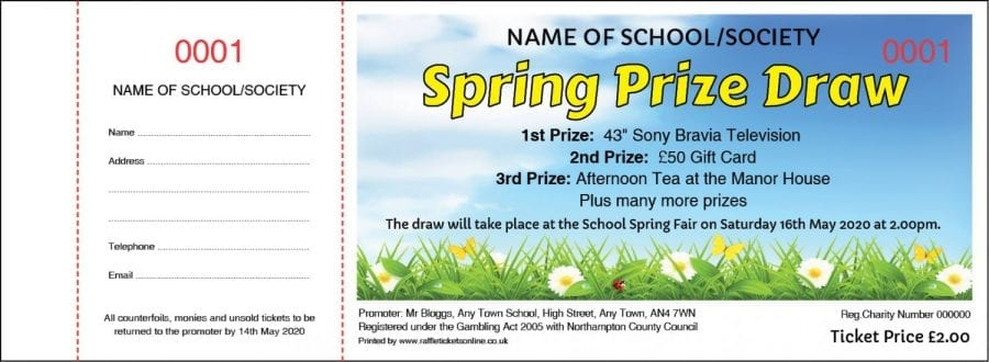 Spring Raffle Ticket with Flowers and sky background