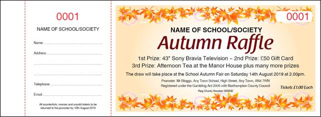 Autumn Prize Draw raffle Ticket template