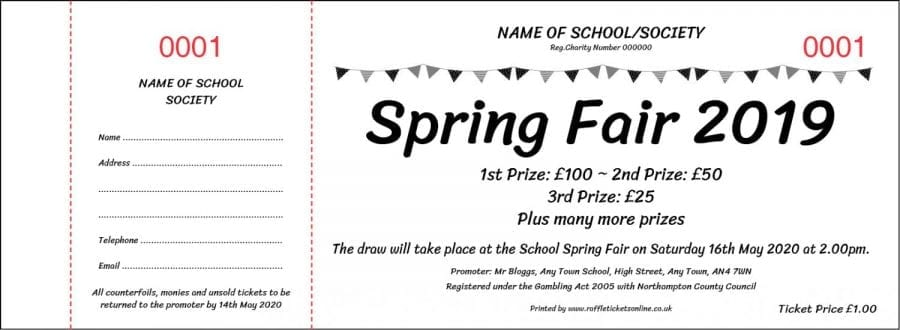 Spring Raffle Ticket Template