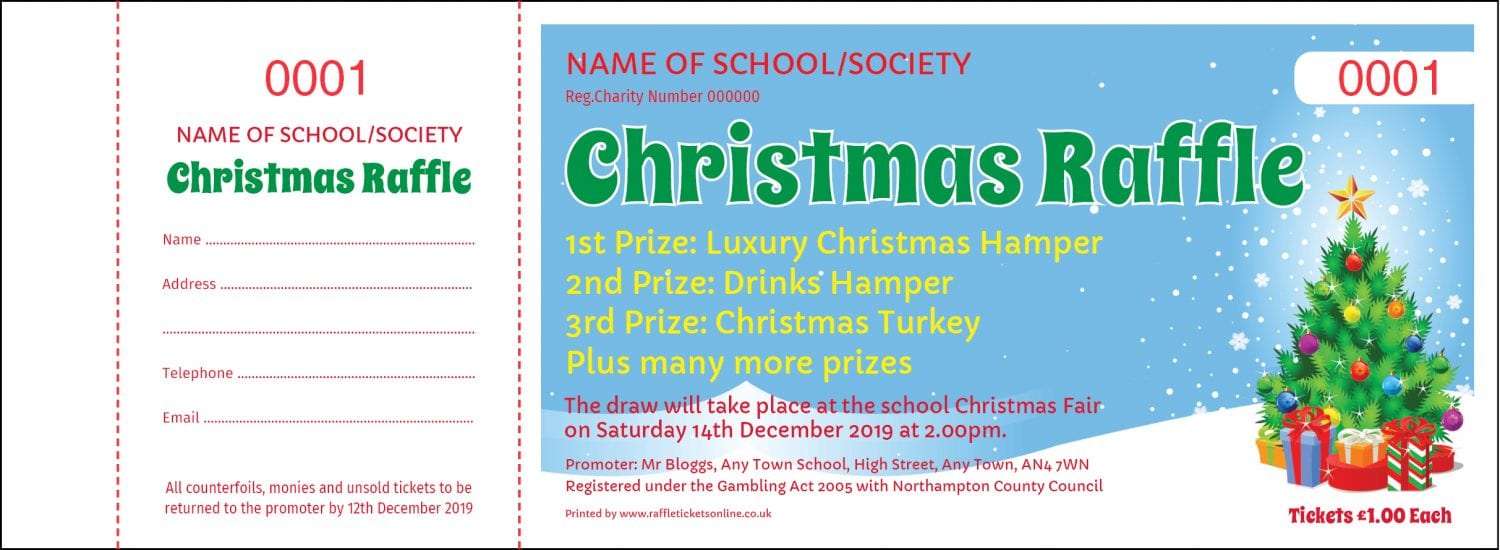 Christmas raffle ticket design templates