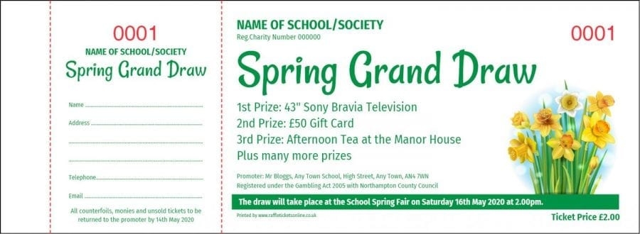 Spring Prize Draw raffle ticket template with daffodils