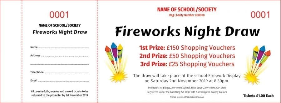Fireworks Night Raffle Tickets - Draw Ticket Printers - Raffle Ticket Printer