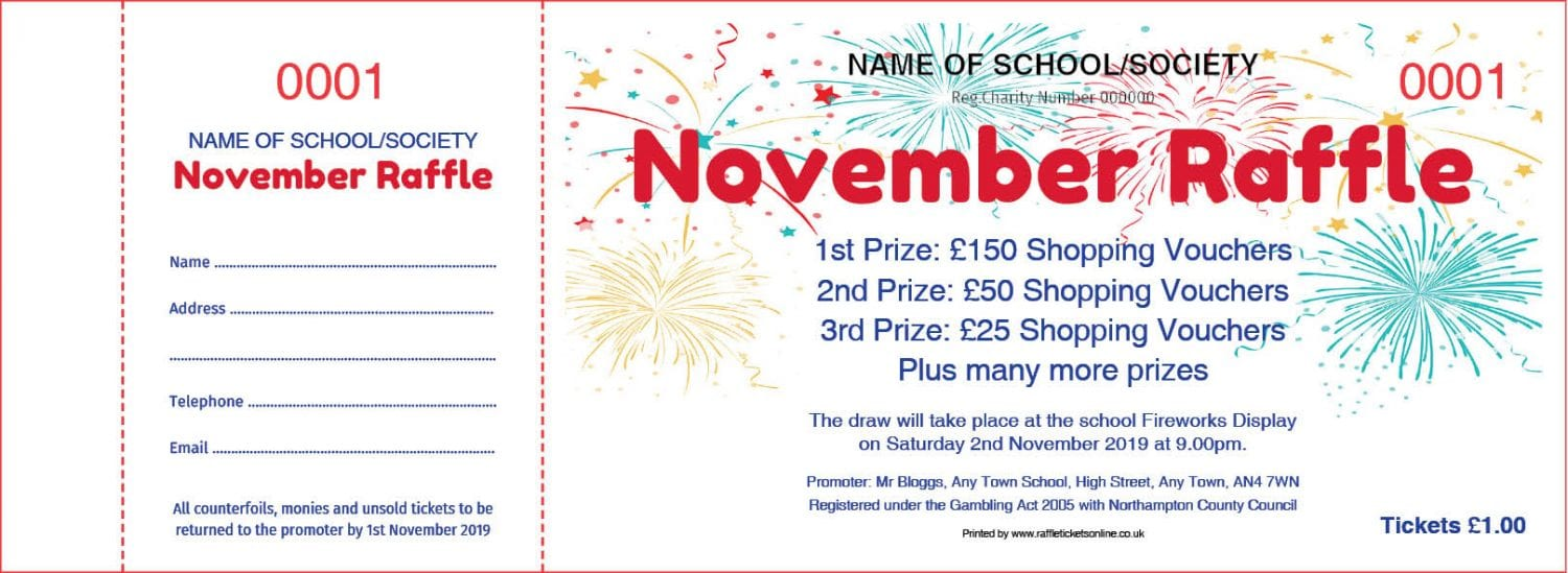 Fireworks Prize Draw raffle Ticket template