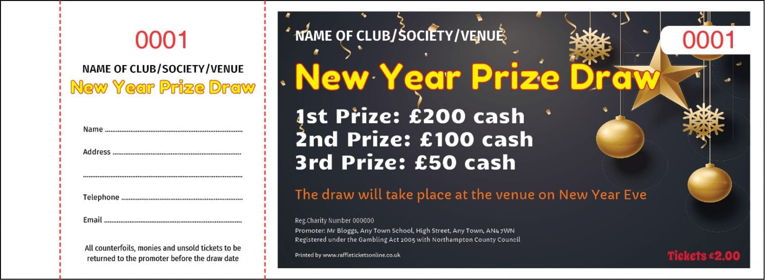 New Year raffle ticket design template