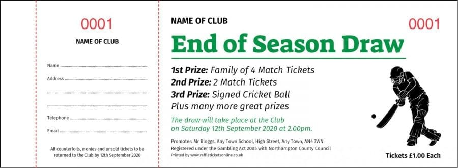 Cricket Raffle Tickets, Football Raffle Tickets, Rugby Raffle Tickets