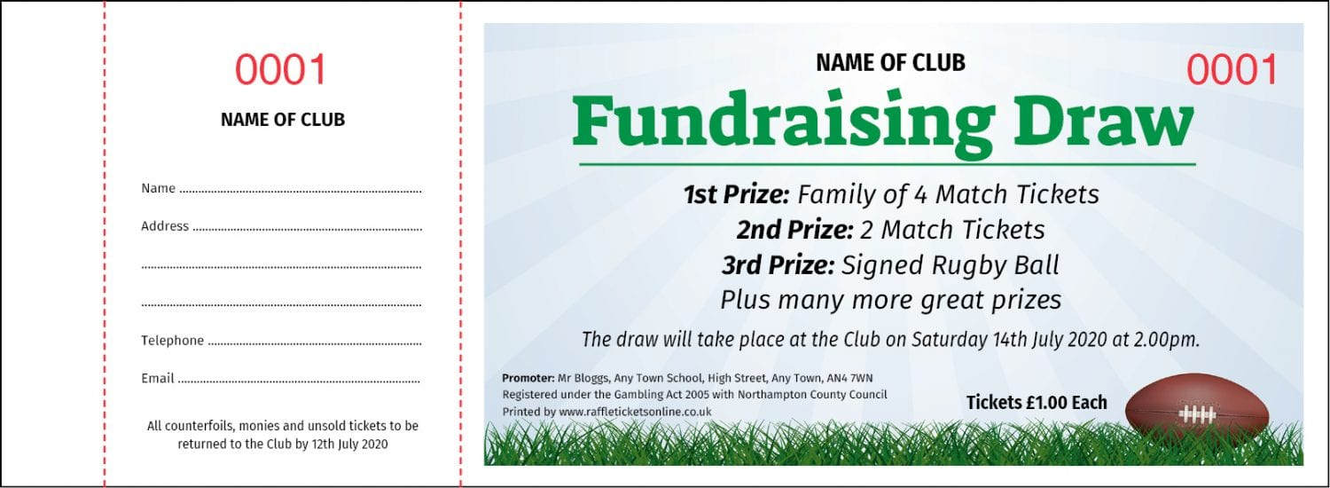 Rugby fundraising Prize Draw raffle ticket template