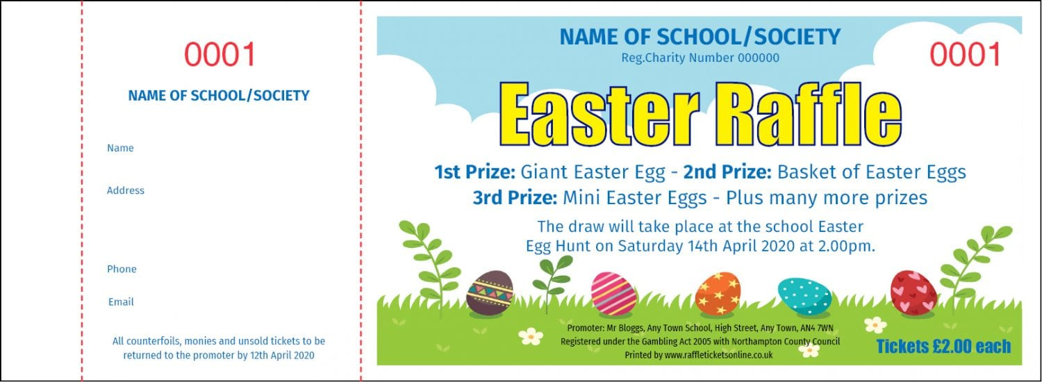 Easter raffle ticket template