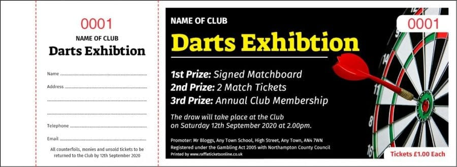 Darts Event Draw & Raffle Ticket Template