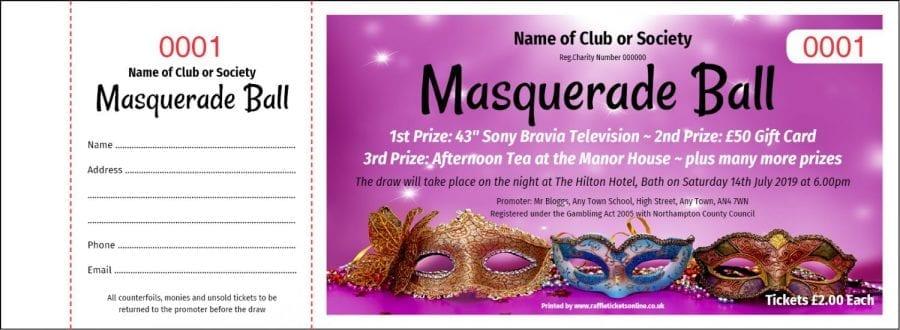 Masquerade Ball raffle ticket template