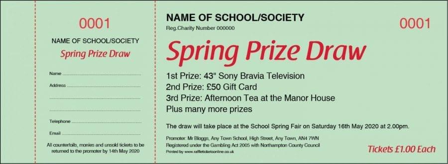 Spring Prize Draw Raffle Ticket Template with green background.