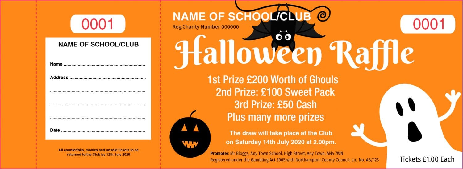 Halloween Raffle Tickets - Draw Ticket Printers - Raffle Tickets